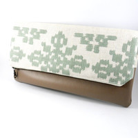 Linen Ikat and Vegan Leather Foldover Clutch in Mint and Neutral Cream