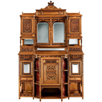 Magnificently Carved Antique Satinwood Cabinet