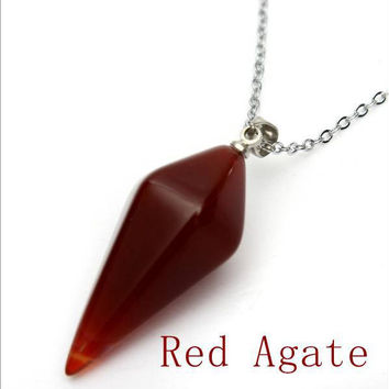 Necklace Chain With Natural Stone Pendulum Shaped