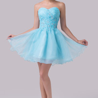 Light Blue Beading Detail Strapless Homecoming Dress