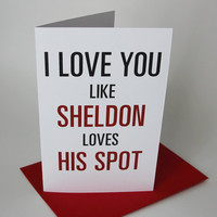 Sheldon Valentine's Day Card - Bang Theory Tv Show