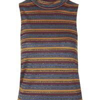 Knitted Stripe Funnel Top - Black