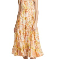 Primrose Chiffon Tie-Shoulder Midi Dress