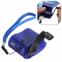 2017 New USB Travel Emergency Phone Charger Dynamo Hand Manual Charger Blue
