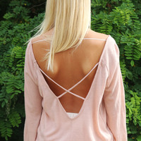 Keep Me Close Peach Long Sleeve Criss Cross Back Top