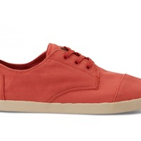 TOMS Shoes Salmon Red Canvas Paseos Men's Sneakers,