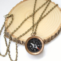 Reversible Compass Necklace, Compass Quote Necklace, Map Quote Necklace, Gypsy Jewelry