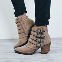 Walk That Walk Taupe Buckle Booties