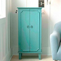 Modern Turquoise Jewelry Storage Cabinet with French-Style Doors