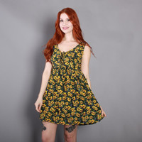90s BROWN-EYED SUSAN Babydoll Dress / 1990s Sunflower Floral Corset Mini