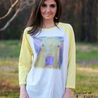 Luckybird Clothing Yellow Sleeve Raglan Shirt with Bright Cow Art