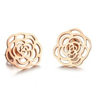 MagicPieces Women's Titanium Stainless Steel Golden Flower Design Gold Plating Earring DP 0506