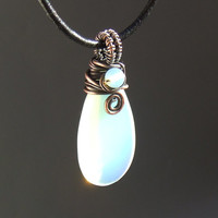 Opalite necklace, white glass pendant, copper rustic jewelry, copper necklace, valentines gift