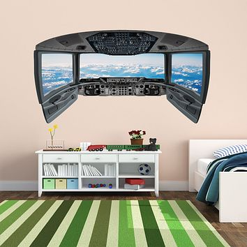 3D Airplane Stickers for Kids | Clouds Cockpit Wall Decal - CP5