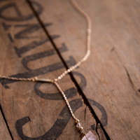 LOVE STONE LARIAT - Natural Rose Quartz Raw Gemstone Crystal Choker Necklace Dainty Jewelry Boho Chic Trendy Gifts for her Gifts for Sister