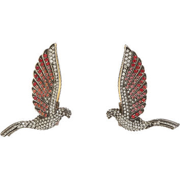 Red Sapphire, Pink Sapphire & Diamond Flying Falcon Studs
