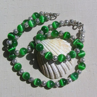 """Necklace & Bracelet Set - Green Cat's Eye and Sterling Silver - """"Frosted Dew"""""""