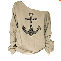 Fashion solid color anchor pattern T-shirt-1