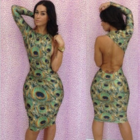 summer women  2014 new sexy bodycon bandage dress Paisley print fashion party evening club prom celebrity summer dresses Y109 = 1956704324