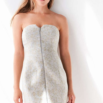 Silence + Noise Snow Leopard Strapless Zip-Front Mini Dress - Urban Outfitters