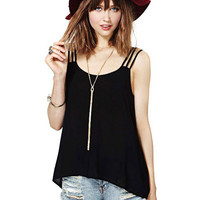 'The Jaelle' Black Strappy Cut-Out Chiffon Cami