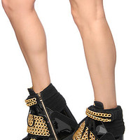 Jeffrey Campbell Heel with chains in Black and Gold