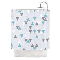 "Nick Atkinson ""Triangle Love II"" Gray Teal Shower Curtain"