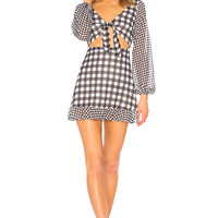 LPA Fit & Flare Mini Dress in Mixed Gingham