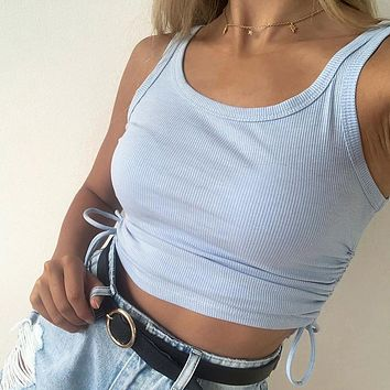 Sexy Fold Drawstring Tank Top Women Skinny Backless Mini Camis Crop Top New Short Vest Clubwear
