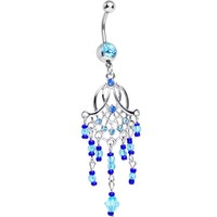 Aqua Blue Cubic Zirconia Beaded Web Chandelier Belly Ring