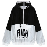 Color Block Elastic Trim Drawstring Hooded Panel Jacket