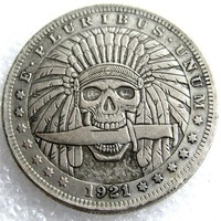 US Hobo 1921 Morgan Dollar Skull Zombie Skeleton Hand Carved Creative Copy Coins