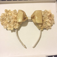 Gold Sparkley Floral Mickey Mouse Ears Headband