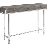 """Accent Table - 48""""L / Dark Taupe / Chrome Metal"""