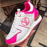 inseva Louis Vuitton LV Run Away Sneaker Contrast Shoes White pink