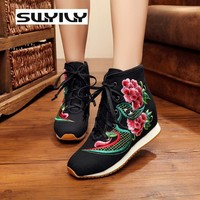 Canvas Flower Embroidered Inner Height Increase Women Walking Shoes Velvet Warm Winter Sneakers Wedge Lacing Women Shoes