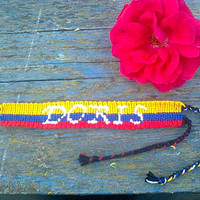 Colombia flag woven bracelet. Colombian bracelet. Colombian flag friendship bracelet. with/without name. date. word.