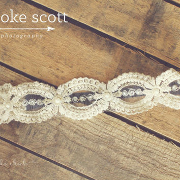 Hippi Style Headband, Bohemian Lace Headband, Wedding Headband, Stretch Lace Headband, Headbands, Elastic Headband