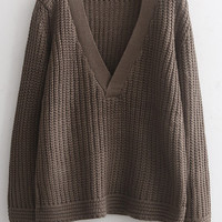 Brown V Neck Knit Long Sleeve Sweater