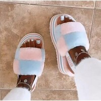 UGG Fashion New Color-blocking Plush Platform Slippers Sandals Furry Boots Shoes