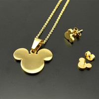 18K Gold Plated Mickey Mouse Necklace Earring Jewelry Set For Women Love New Stock
