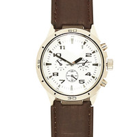 River Island MensDark brown classic white face watch