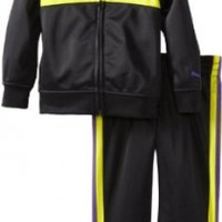 PUMA Little Girls' Front Pieced Tricot Track Jacket And Pant Set, Black/Purple, 3T