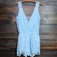 desert wanderer crochet lace romper in blue