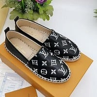 LV new straw ladies gold thread letter fisherman shoes