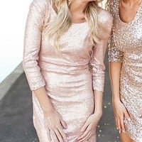 (Pre-Sale) Sparkles New Years Dress Peach Champagne