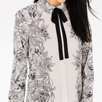 White Floral Print Bow-Tie Long-Sleeve Shirt