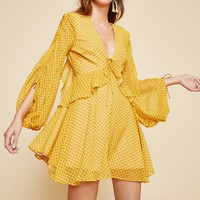 C/MEO COLLECTIVE LIGHT UP LONG SLEEVE DRESS marigold stamp