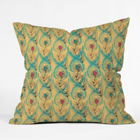 Njeri Designs Twisting Feathers Throw Pillow