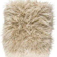 Kharaa Faux Fur Throw Pillow - Khaki